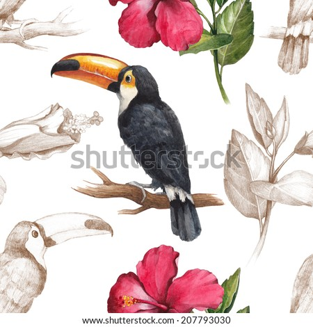 Toucan and hibiscus flower drawings. Seamless pattern - stock photo