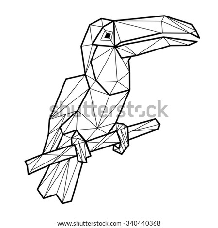 Toucan geometric (illustration of a many triangles) - stock photo