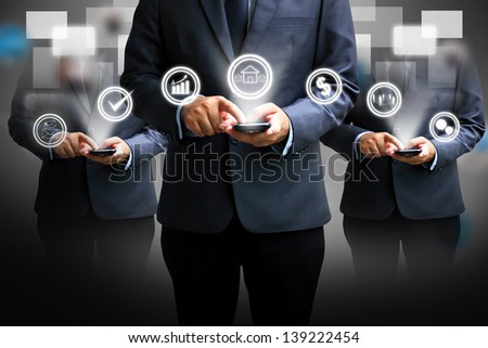 Touch button interface.technology concept - stock photo