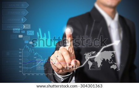 touch financial symbols concept and analysis on future technology