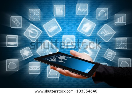 Touch pad and App store icon - stock photo