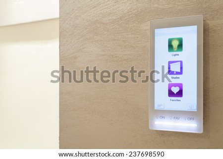 Touch pad in the intelligent house, horizontal - stock photo