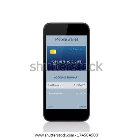 touch phone with mobile wallet onlain shopping on the screen - stock photo