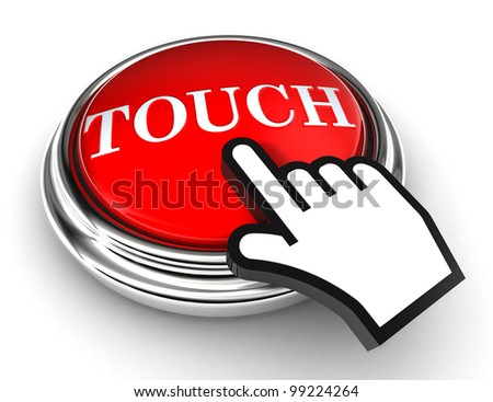 touch red button and cursor hand on white background. clipping paths included - stock photo