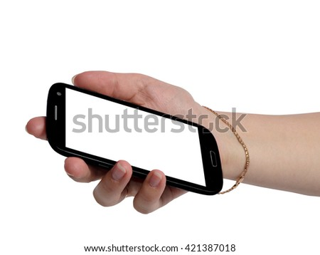Touch screen black mobile phone in hand women.