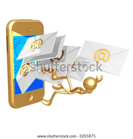 Touch Screen Cellphone E-Mail Overload - stock photo