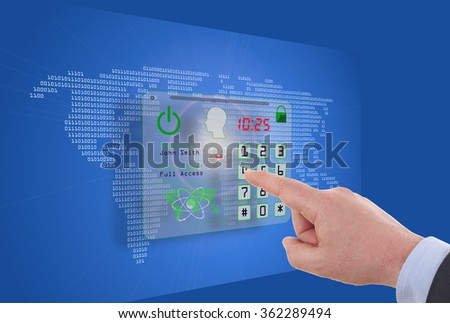 touch screen computer as Internet security online business concept - stock photo