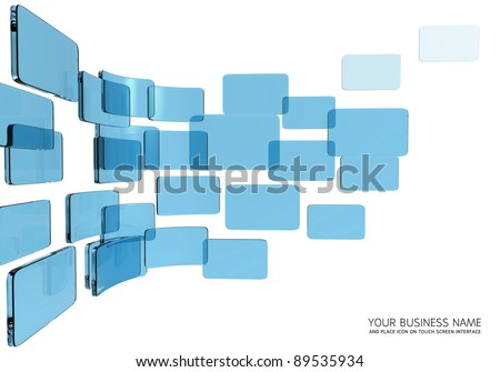 touch screen interface blue glass - stock photo