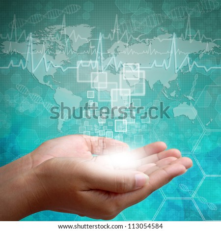 Touch screen interface on Woman hand on background medical - stock photo