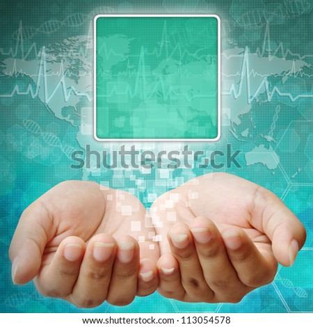 Touch screen interface on Woman hand on medical background - stock photo
