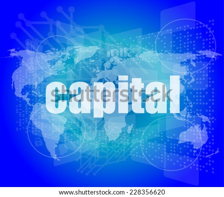 touch screen interface with capital word - stock photo