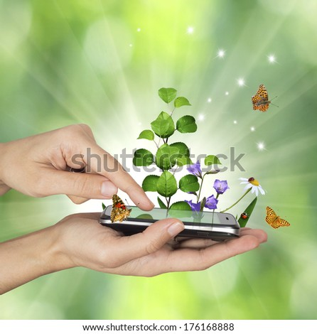Touch screen mobile phone concept - stock photo