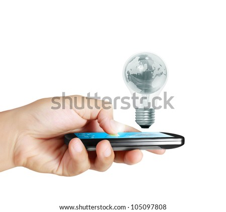 Touch screen mobile phone in hand - stock photo