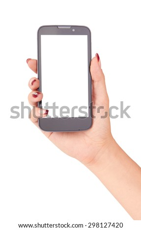 Touch screen mobile phone in hand isolated on white background