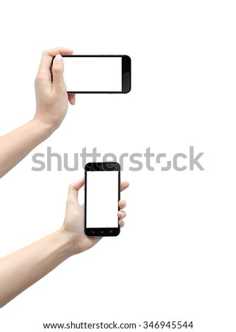Touch screen mobile phone in hand. Isolated on white background. - stock photo