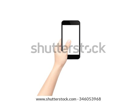 Touch screen mobile phone in hand with blank screen area for copy space. Isolated on white background. - stock photo