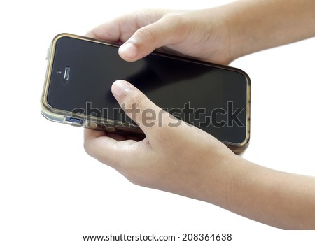 Touch screen mobile phone, in hands of children - stock photo