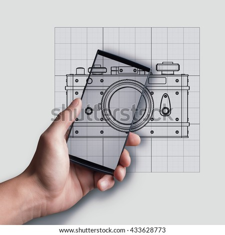 Touch screen mobile phone in man hand over Cad cartoon drawing.  illustration outline.