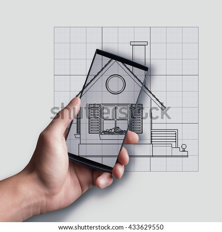 Touch screen mobile phone in man hand over Cad cartoon drawing . illustration outline.