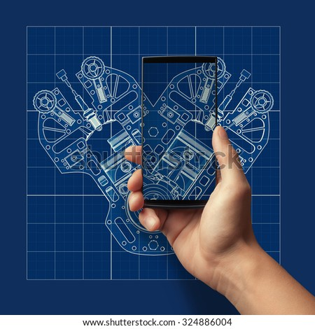 Touch screen mobile phone in man hand over Cad cartoon white drawing on blue background illustration outline.