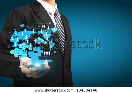 Touch screen mobile phone technology business concept idea, Creative network information process diagram - stock photo