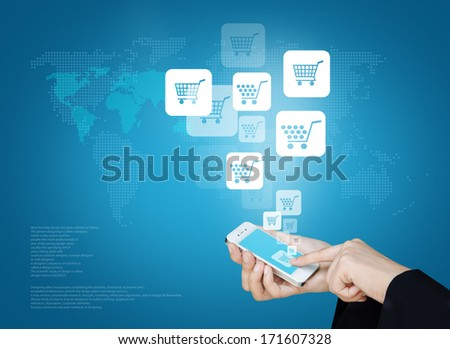 Touch screen mobile phone to display business icon and technology, Design concept of technology information and e-commerce - stock photo
