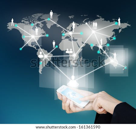 Touch screen mobile phone to display social network structure, Design concept of  social network structure and communication - stock photo