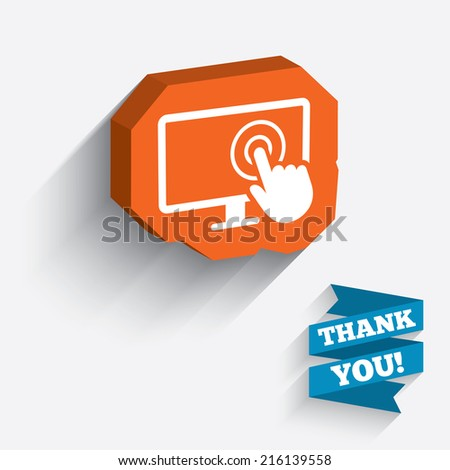 Touch screen monitor sign icon. Hand pointer symbol. White icon on orange 3D piece of wall. Carved in stone with long flat shadow. - stock photo
