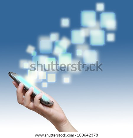Touch screen of mobile phone with streaming images. - stock photo