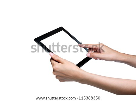 touch screen on tablet pc. isolated white.