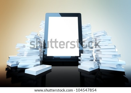 touch screen pad on color background among the many paper books - stock photo