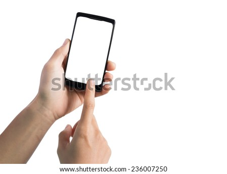 Touch screen smart phone, in hand  - stock photo