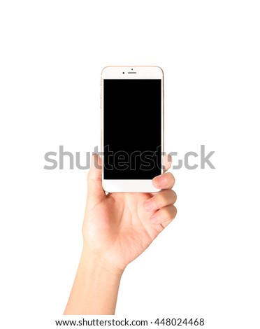 Touch screen smartphone in a hand