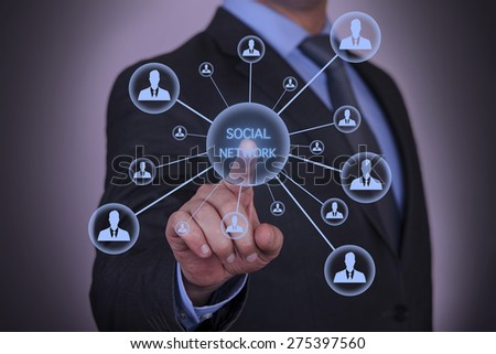 Touch Screen Social Network Concept - stock photo