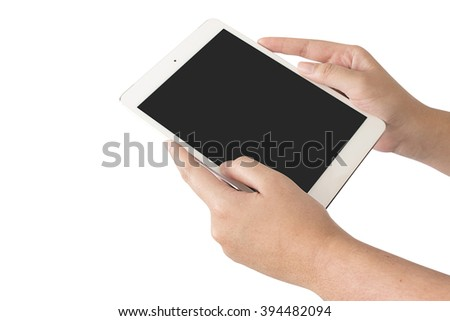 touch screen tablet and shows tablet isolated on white background, clipping path [selective focus] - stock photo