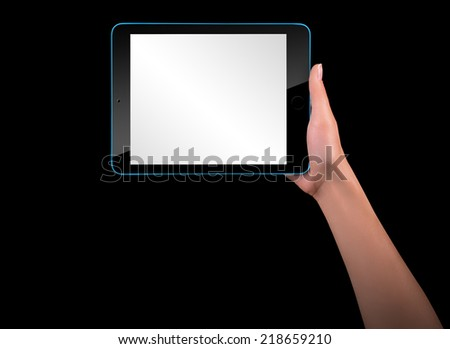 Touch screen tablet computer with blank screen and hand isolated