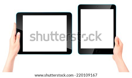 Touch screen tablet computer with blank screen and woman hand isolated