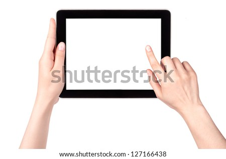Touch screen tablet computer with hand isolated - stock photo