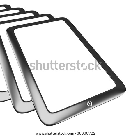 Touch screen tablet pc with blank screen isolated on white - stock photo