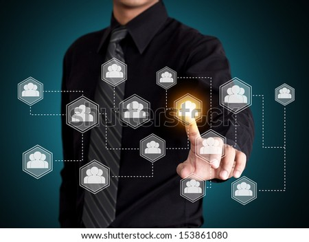 Touch screen technology with social network concept - stock photo