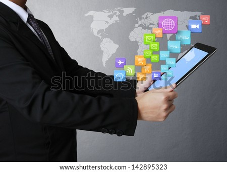 touch screen ,touch- tablet in hands Business man