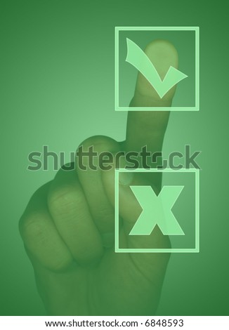 Touch screen with tick box, cross box and hand - stock photo