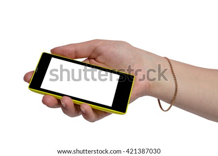 Touch screen yellow black mobile phone in hand. - stock photo