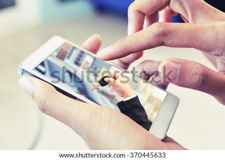 touch smart phone , rental car on internet concept background