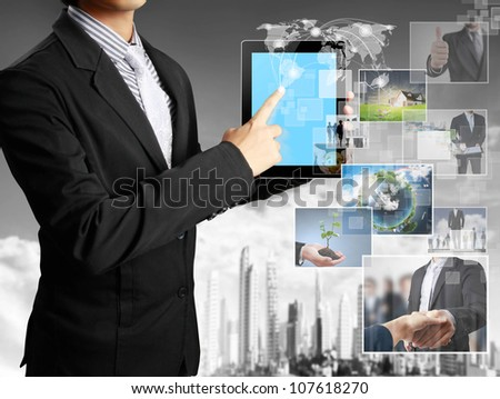 touch tablet concept images streaming from the deep - stock photo