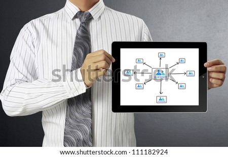 touch-tablet in hand and show tablet - stock photo