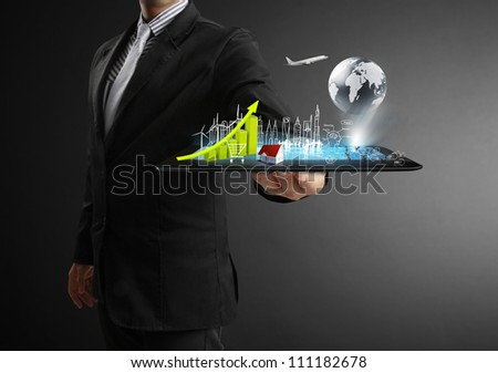 touch tablet in hand  concept - stock photo