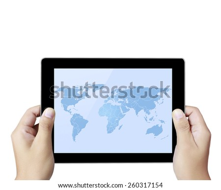 touch- tablet in the hands