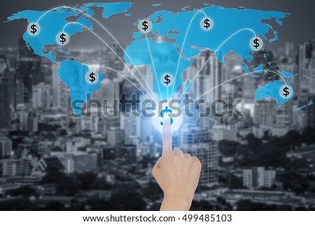 Touching button with dollar currency symbols connected in network, concept about global finance connection network.