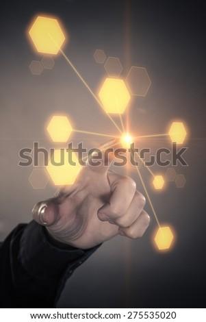 Touching hand futuristic screen internet concept - stock photo